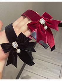 Fashion Black Double-sided Gold Velvet Bow Pearl And Diamond Headband