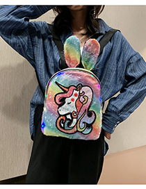 Fashion Yellow Unicorn Rabbit Ears Sequins Childrens Backpack With Charge
