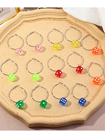Fashion Fluorescent Color Geometric Sieve Resin Round Alloy Earrings
