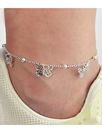 Fashion Silver Color Color Hollow Butterfly Pendant Anklet