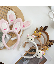 Fashion Bear Head Coffee Color Bear Rabbit Plush Antler Lamb Hair Hoop