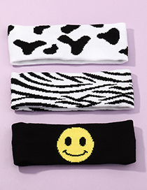 Fashion Zebra Pattern Smiley Face Zebra Print Contrast Elastic Elastic Headband