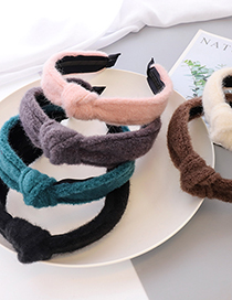 Fashion Black Knotted Wide-brimmed Headband In Woolen Cloth