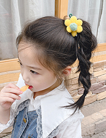 Fashion Pink Flower Hair Ball Hitting Color Knotted Childrens Hair Rope