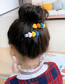 Fashion 1 Pink And Green Love Hair Clip Plush Love Contrast Color Alloy Childrens Hairpin