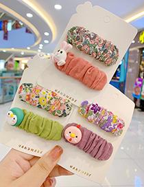 Fashion Little Dinosaur Hair Clip [2 Piece Set] Fabric Pleats Zou Floral Resin Alloy Children Hairpin