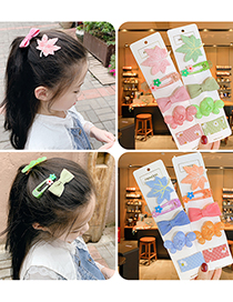 Fashion Pink Series [5 Piece Set] Small Bowknot Fruit Fabric Alloy Childrens Hairpin Set