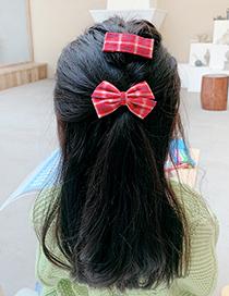 Fashion Purple Plaid Bowknot [2 Piece Set] Lattice Bowknot Fabric Alloy Hairpin