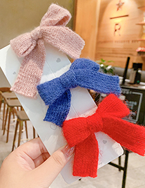 Fashion Blue Bow Hairpin Childrens Hairpin With Knitted Wool Bow