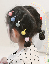 Fashion Curly Flowers Plush Ball Hit Color Childrens Hair Rope Set