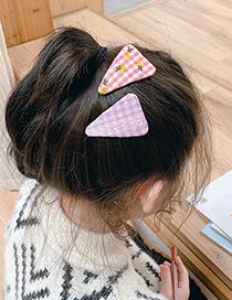 Fashion Pink Green Grid + Blue Grid Fabric Embroidery Lattice Geometric Children Hairpin