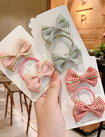 Fashion Green Bow [2-piece Set] Checkered Bowknot Childrens Hairpin Hair Rope