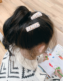 Fashion Beige Hair Clip [2 Piece Set] Knitted Woolen Knitting Color Geometric Childrens Hairpin