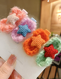 Fashion Yellow Five-pointed Star Childrens Hairpin With Woolen Bow