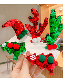 Fashion Green Horns [1 Pair] Three-dimensional Christmas Antlers Christmas Tree Sequins Childrens Hairpin