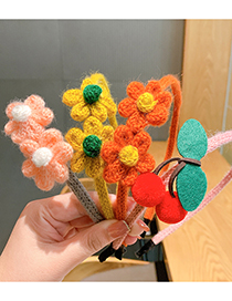 Fashion Cherry [hair Band] Knitted Wool Flower Hairband For Children