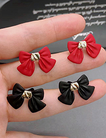 Fashion Black Butterfly Combined With Gold Color Earrings