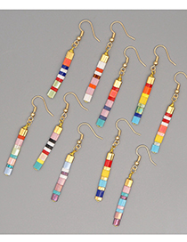 Fashion Color Mixing Striped Handmade Beaded Alloy Earrings
