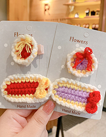 Fashion Bow Hairpin [pink] Small Woolen Knitted Bowknot Childrens Hairpin