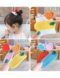 Fashion Pink Hairpin Knitted Wool Love Spring Children Hairpin