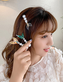 Fashion Purple Dolphin Fish Tail Pearl Alloy Word Clip