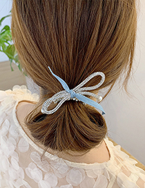 Fashion Sky Blue Bow Tie Diamond Pearl Hair Rope