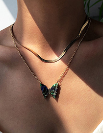 Fashion Gold Color Alloy Double Layer Butterfly Pendant Necklace