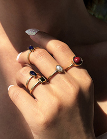 Fashion Gold Color 5-piece Alloy Resin Geometric Ring