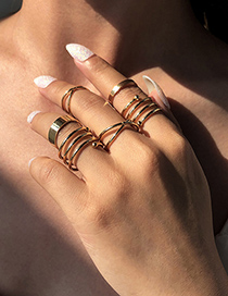 Fashion Gold Color 6-piece Alloy Geometric Ring
