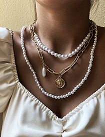 Fashion Gold Color Alloy Pearl Head Multilayer Pendant Necklace