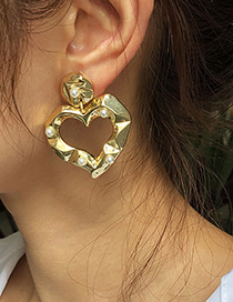 Fashion Gold Color Alloy Pearl Love Earrings