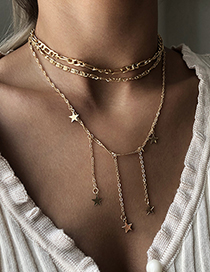 Fashion Gold Color Alloy Tassel Five-pointed Star Multilayer Necklace