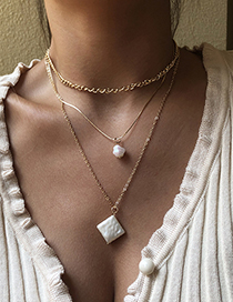 Fashion Gold Color Alloy Multilayer Pearl Square Necklace