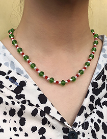 Fashion Color Christmas Pearl Resin Beaded Necklace