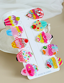 Fashion Color Alloy Resin Ice Cream Series Duckbill Hairpin Set
