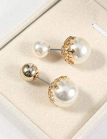 Fashion White Ball One Word Pin Pearl Round Brooch