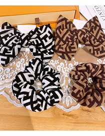 Fashion Hairpin-coffee Color Geometric Pattern Knitted Large Intestine Circle Hair Rope Hairpin