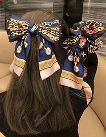 Fashion Coffee Color-hairpin Double Stitching Printed Fabric Wide Border Bow Hair Band Hair Rope Hairpin