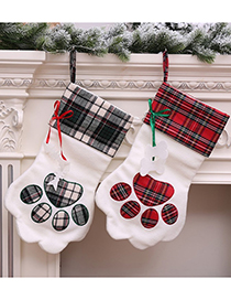 Fashion Red Dog Paw Stitching Plaid Christmas Socks