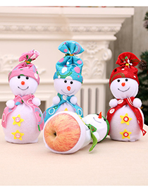 Fashion Green Christmas Snowman Contrast Color Safe Fruit Bag