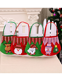 Fashion Bear Christmas Brushed Cloth Stitching Apple Tote Bag