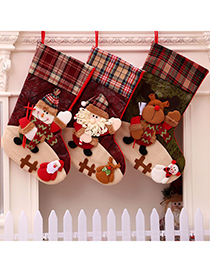 Fashion Deer Christmas Lattice Stitching Elderly Elk Christmas Stockings