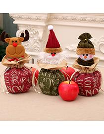 Fashion Deer Christmas Burlap Close-up Apple Bag