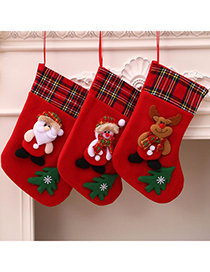 Fashion Deer Christmas Plaid Stitching Plush Three-dimensional Christmas Socks