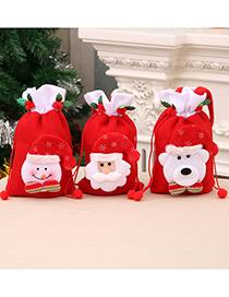 Fashion Bear Santa Stitching Drawstring Childrens Three-dimensional Gift Bag