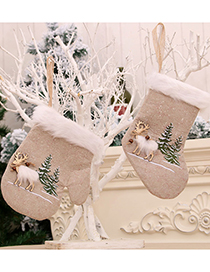 Fashion Gloves Linen Machine Embroidered Elk Christmas Stocking Gloves