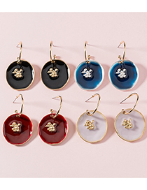 Fashion Pink Paint Round Pendant Oil Drop Alloy Earrings