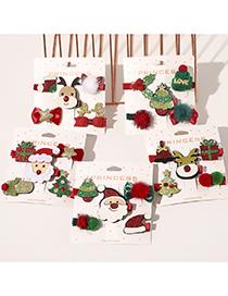 Fashion Red Crystal Nose Santa Claus Five Piece Set Christmas Tree Elk Gift Children Hairpin Set