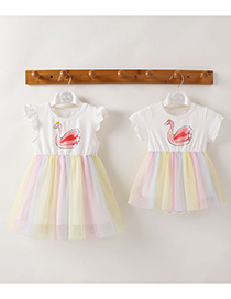 Fashion Romper Rainbow Flying Sleeves Print Contrast Color Childrens Dress