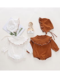 Fashion Brown Long Sleeve Romper With Lotus Leaf Collar
